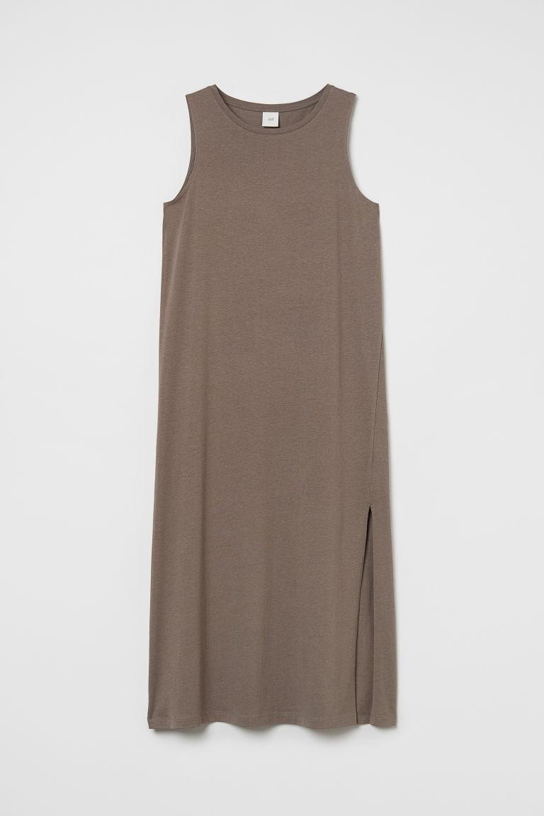 H & M - 開衩平紋洋裝 - 褐色