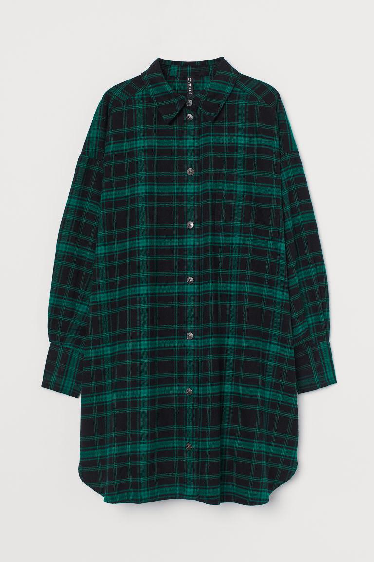 H & M - 棉質襯衫式洋裝 - 綠色