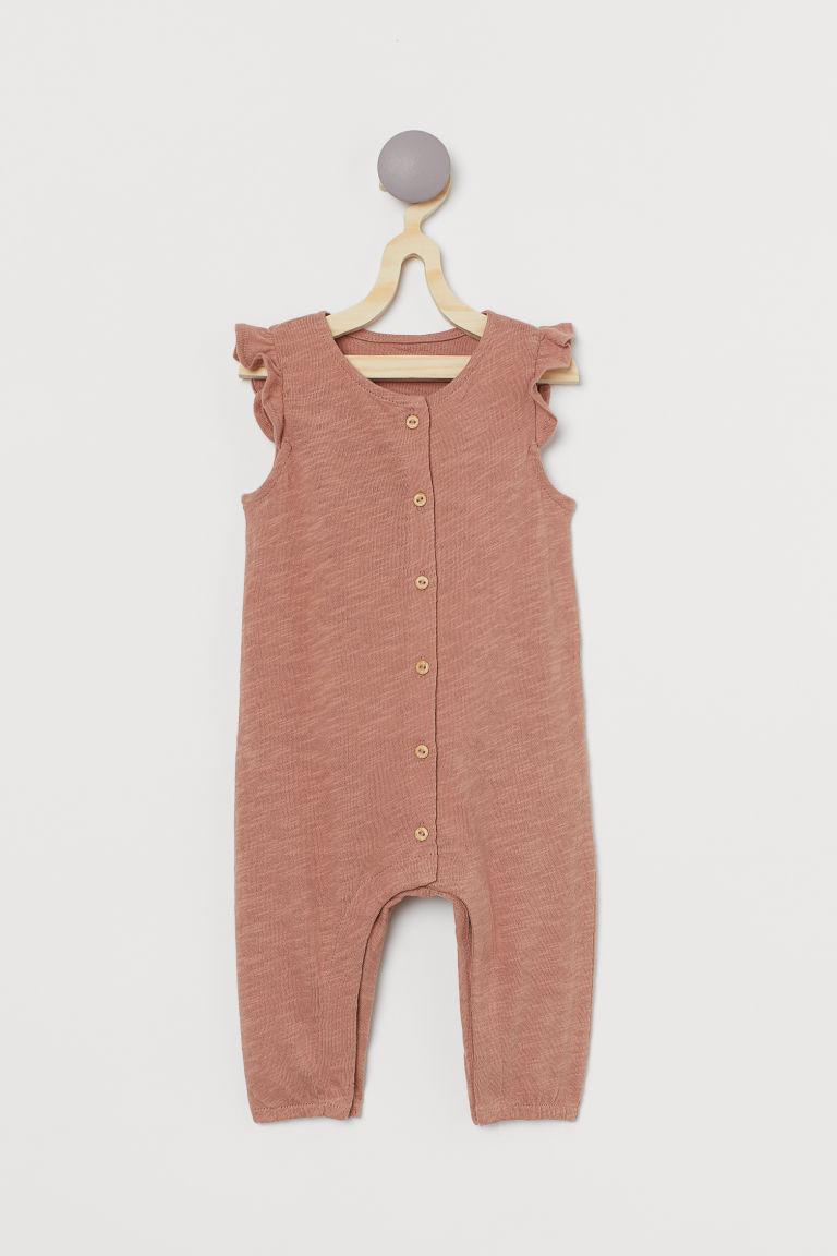 H & M - 粗紡平紋連身褲裝 - 橙色