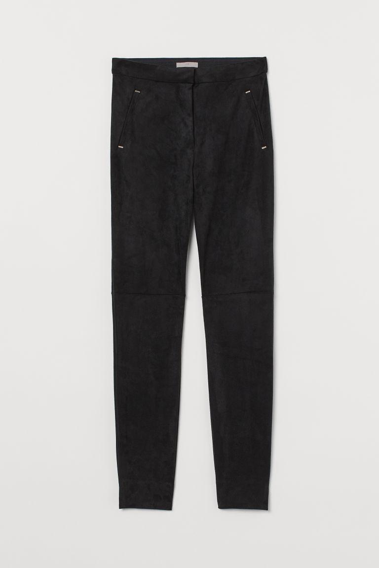 H & M - 仿麂皮長褲 - 黑色