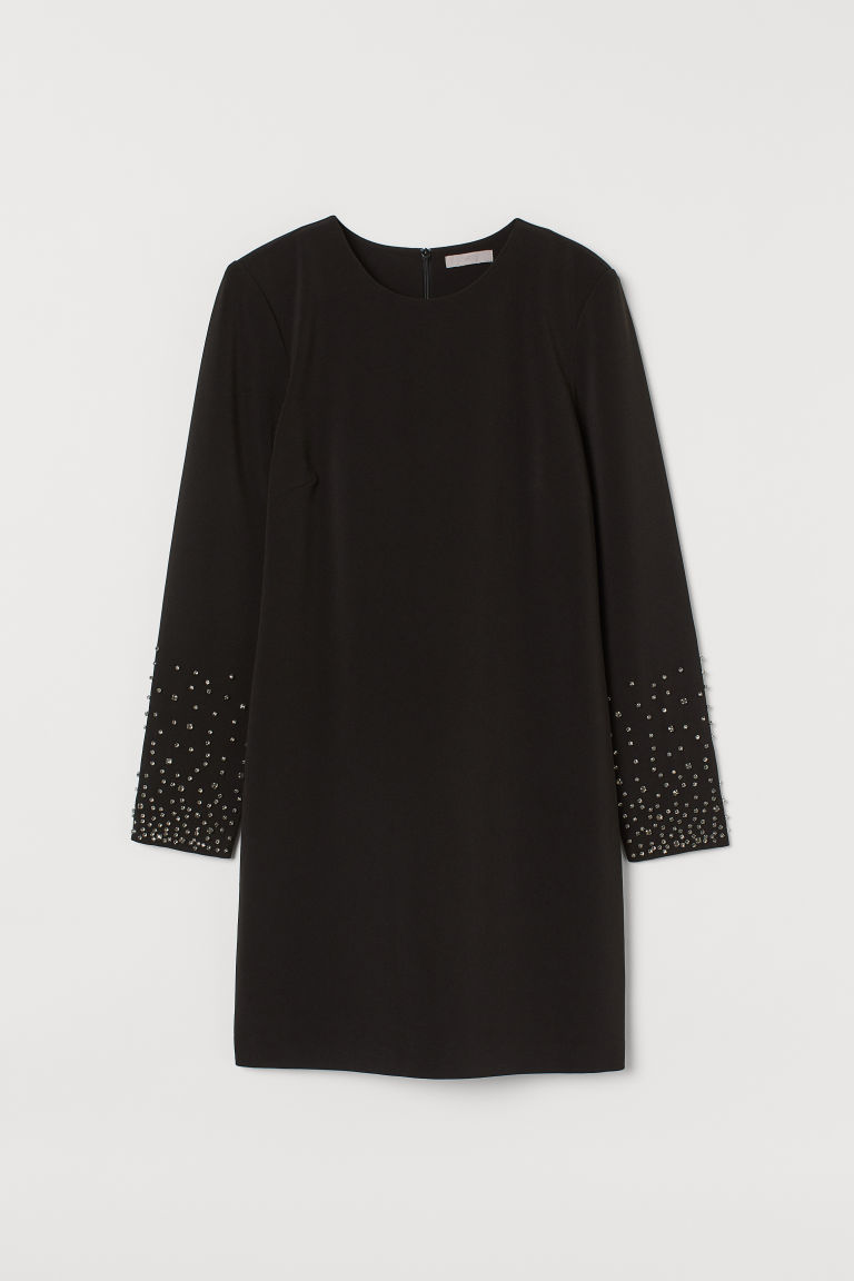 H & M - 貼花洋裝 - 黑色