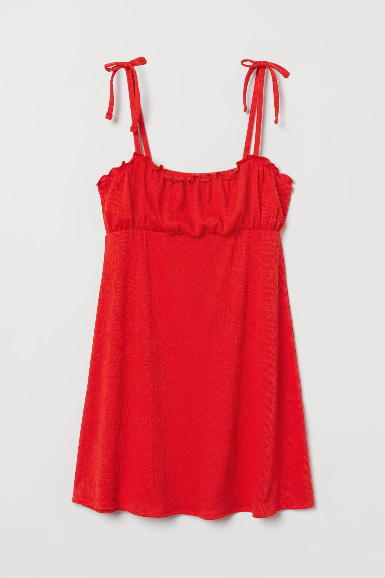 H & M - 蝴蝶結飾平紋洋裝 - 橙色