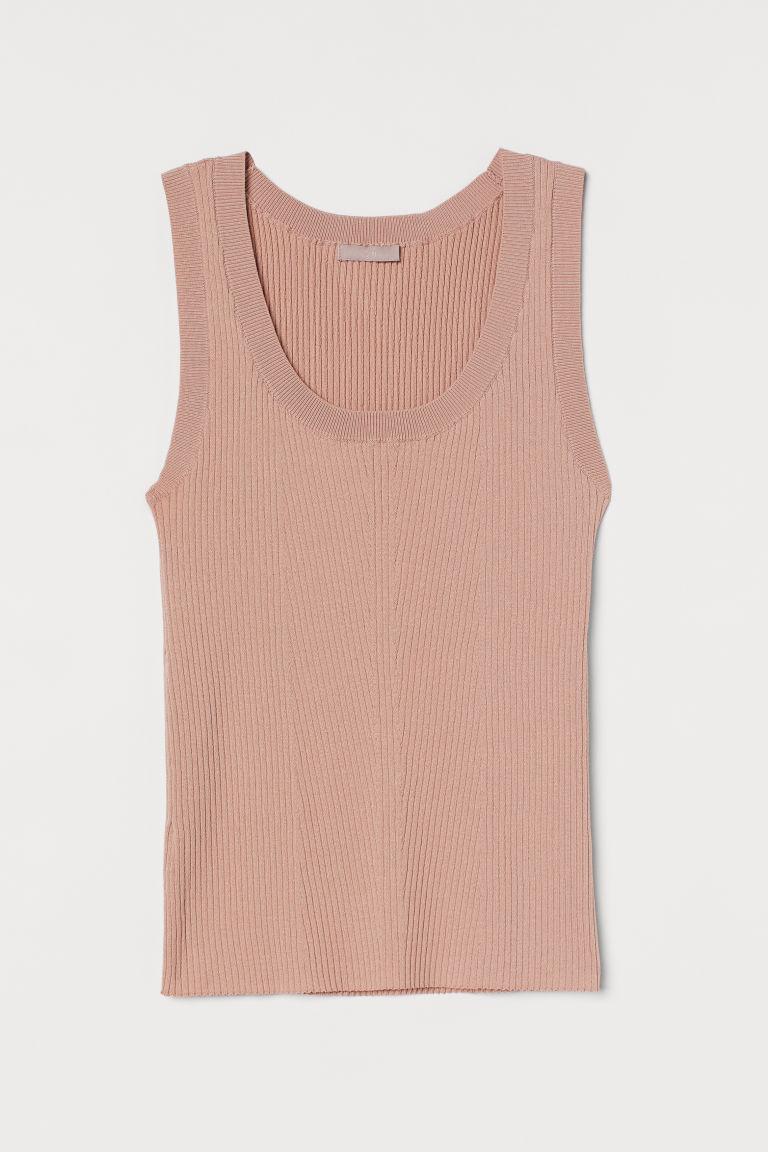 H & M - 羅紋針織背心上衣 - 米黃色