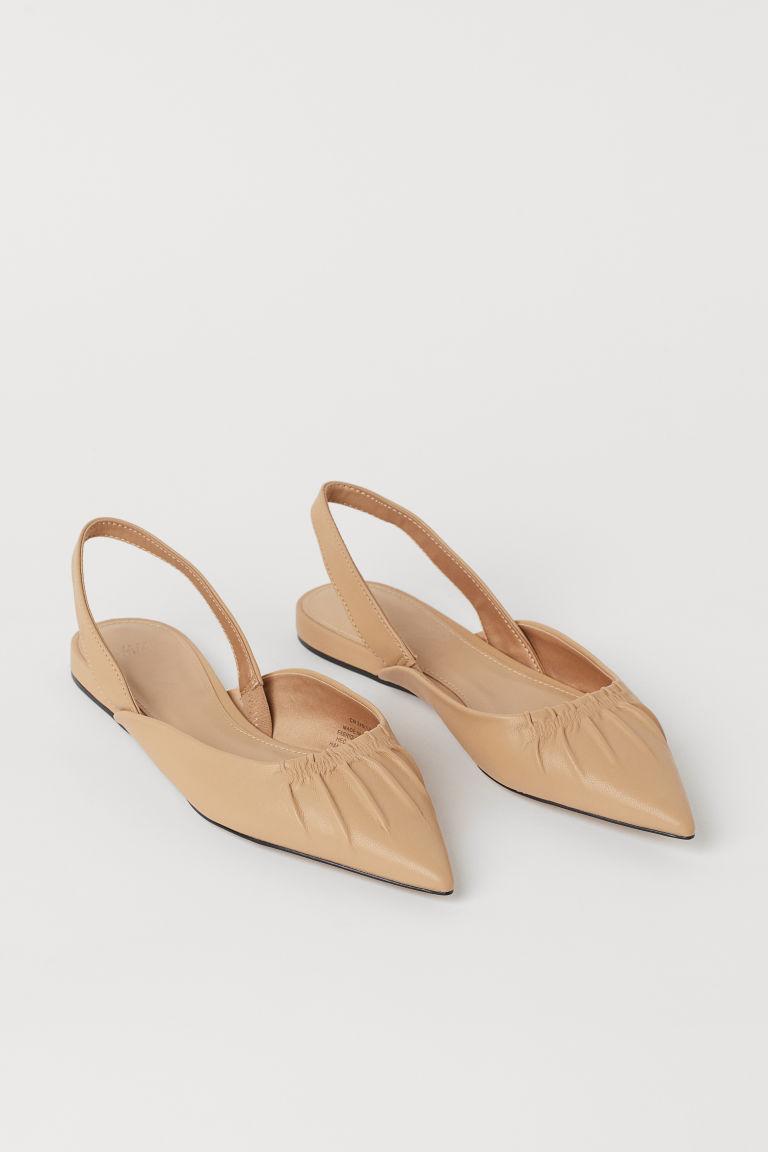 H & M - 尖頭露跟鞋 - 米黃色