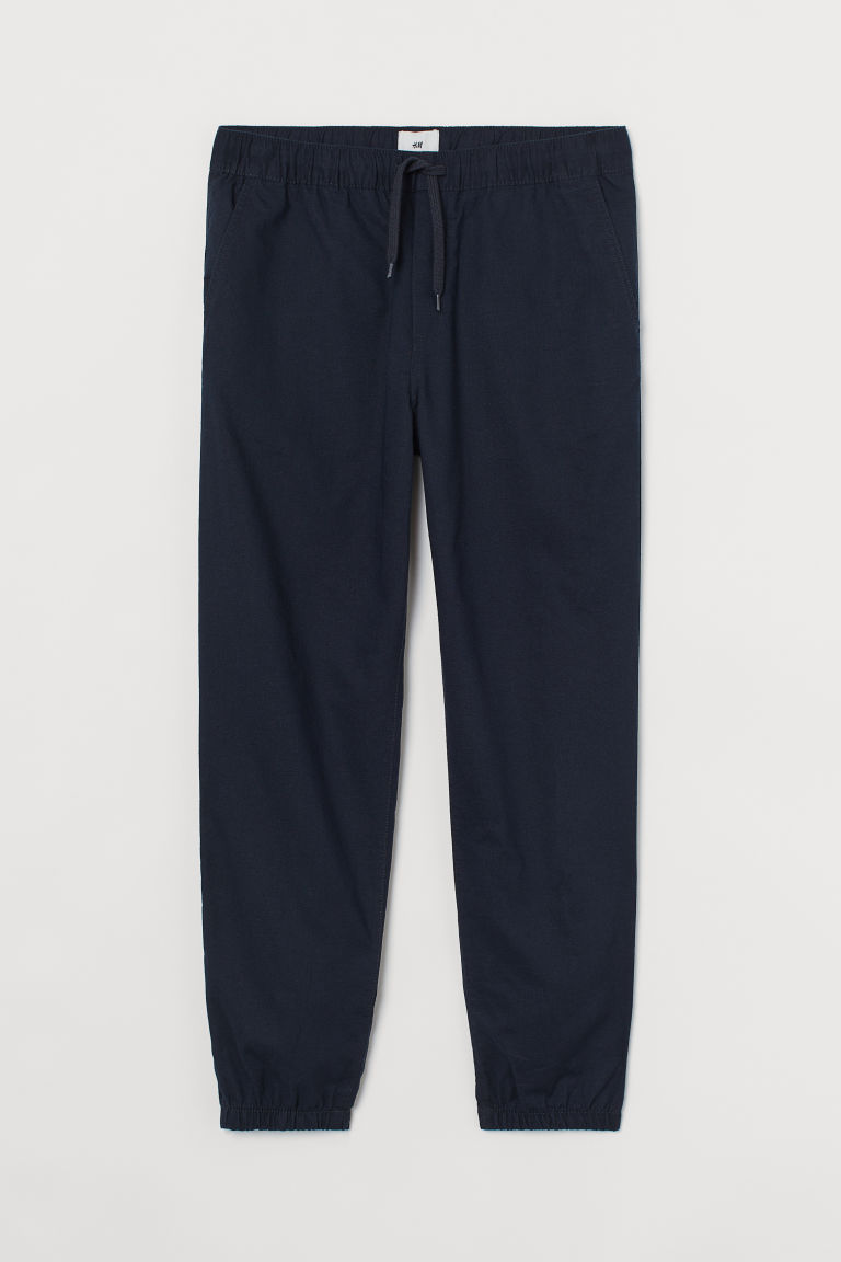 H & M - 合身亞麻混紡慢跑褲 - 藍色