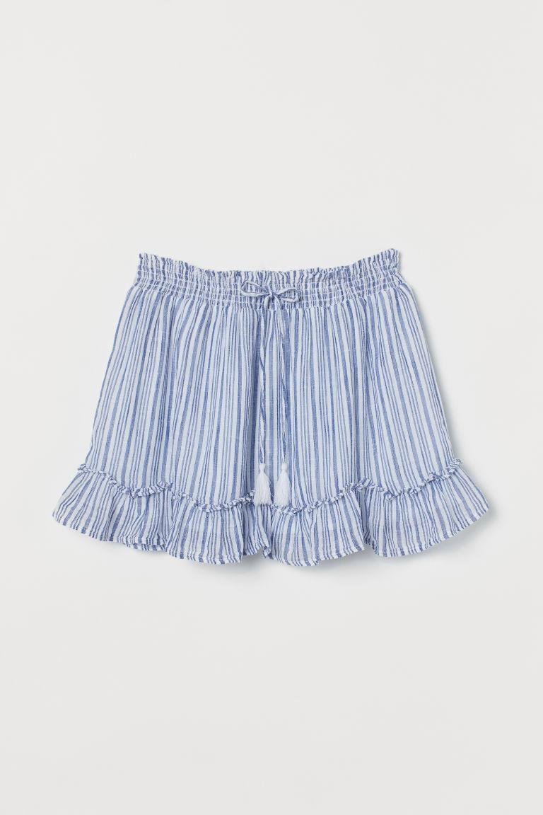 H & M - 棉質短裙 - 藍色