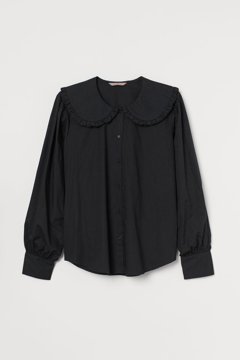 H & M - H & M+ 大衣領女衫 - 黑色