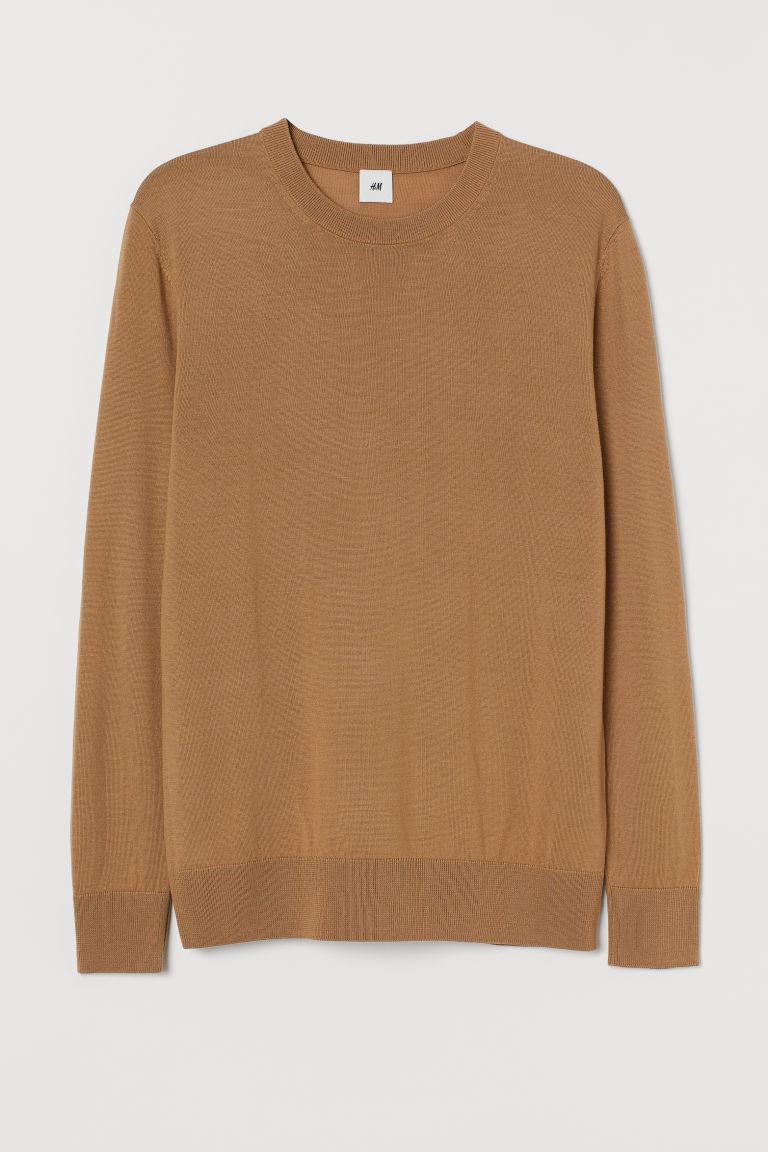 H & M - 美麗諾羊毛套衫 - 米黃色