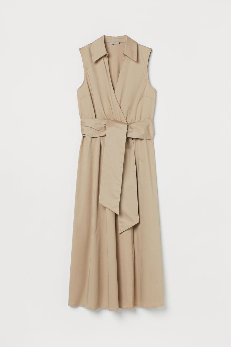 H & M - 棉質交疊式洋裝 - 米黃色