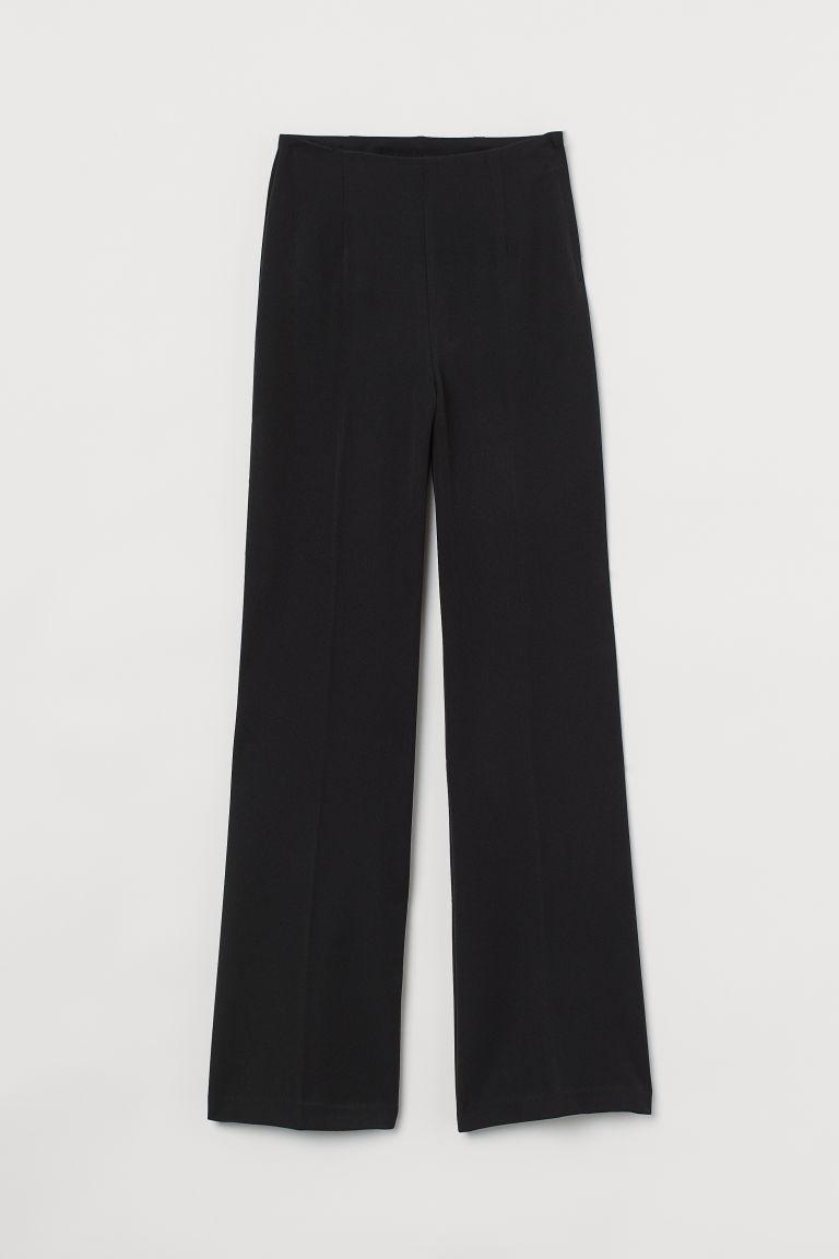 H & M - 褶線寬管褲 - 黑色