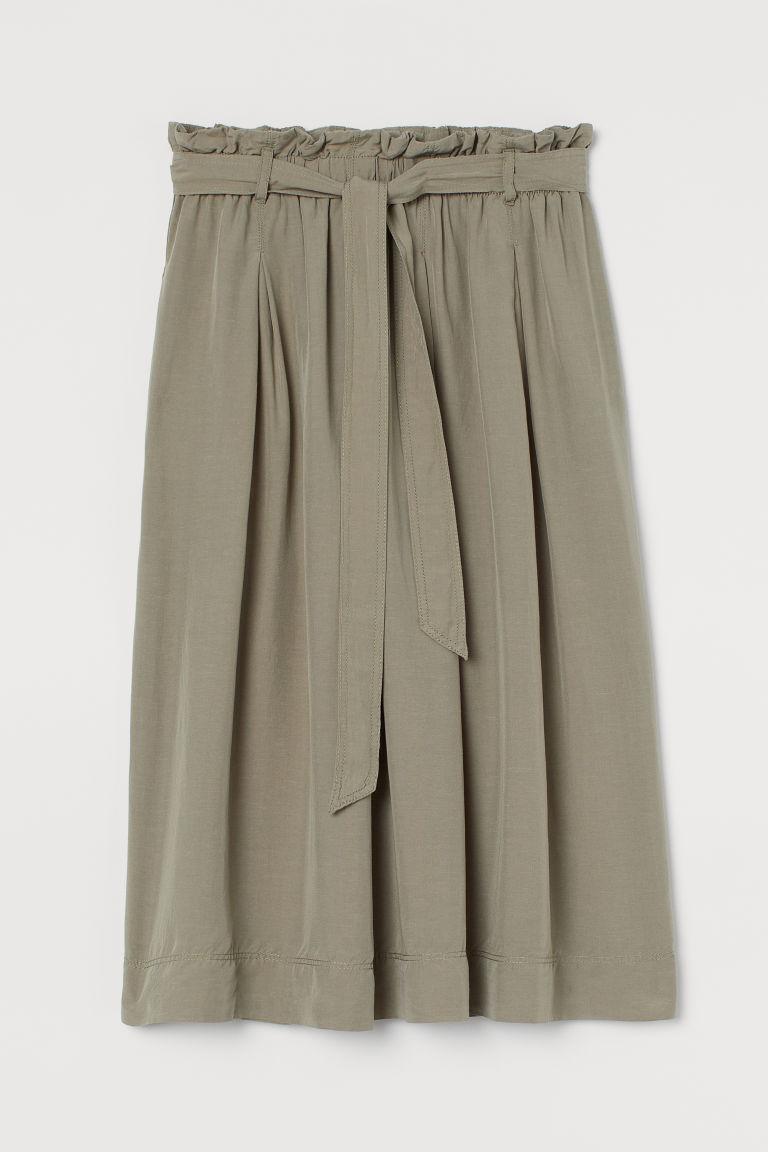 H & M - 紙袋造型腰圍萊賽爾混紡裙 - 綠色