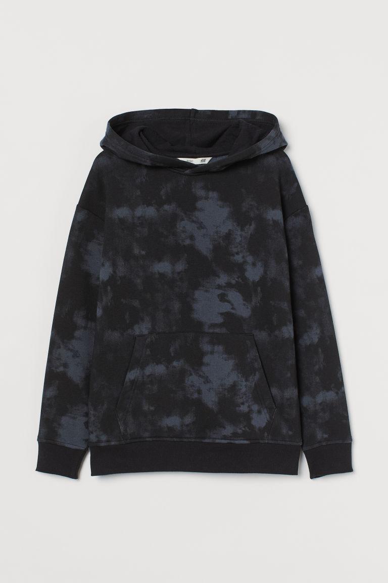 H & M - 印花連帽上衣 - 黑色