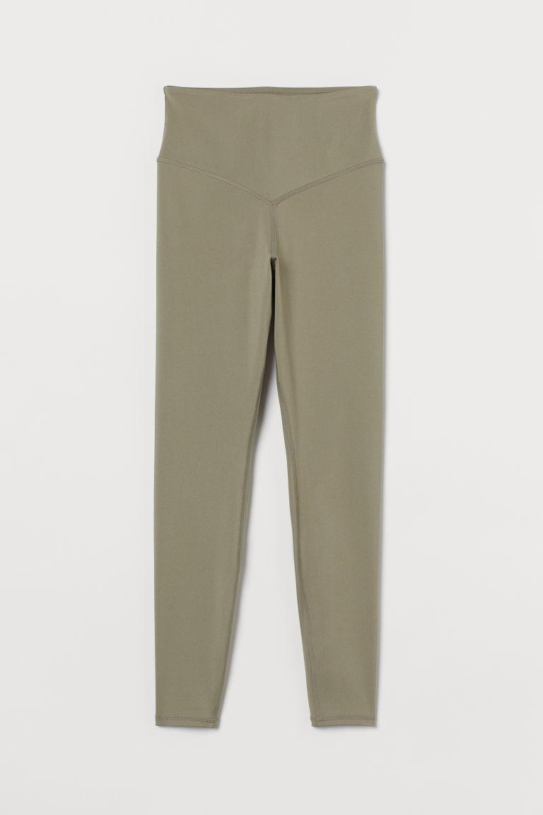 H & M - 超高腰緊身褲 - 綠色