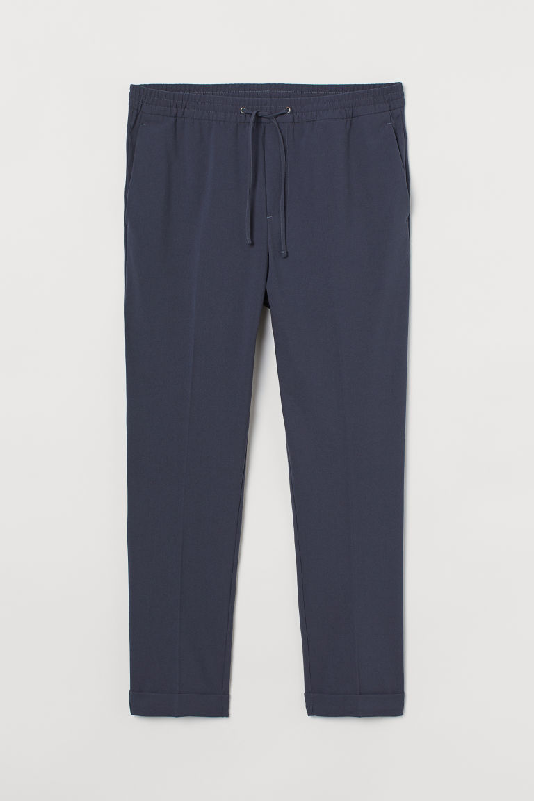 H & M - 貼身慢跑褲 - 藍色