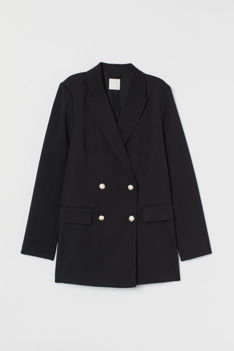 H & M - 雙排扣外套 - 黑色