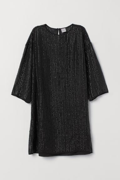 robe t shirt paillettes noir femme h m ca. Black Bedroom Furniture Sets. Home Design Ideas