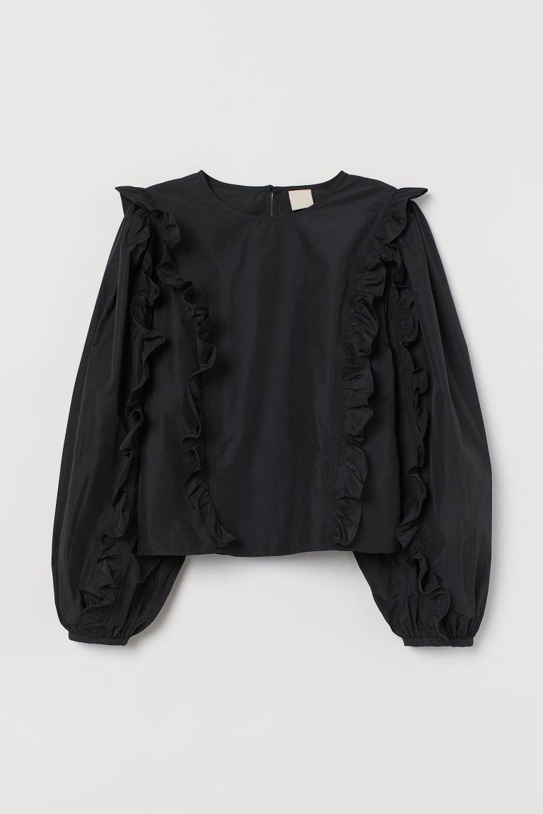 H & M - 荷葉邊塔夫綢女衫 - 黑色