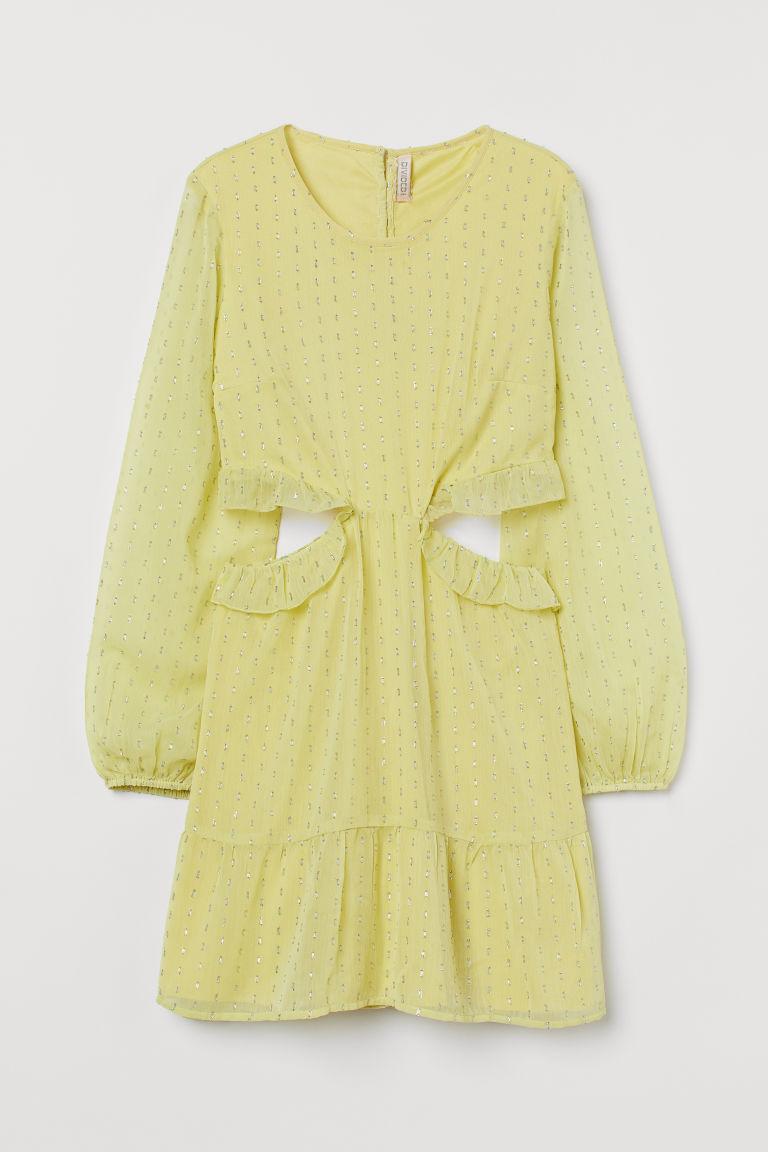 H & M - 鏤空設計雪紡洋裝 - 黃色