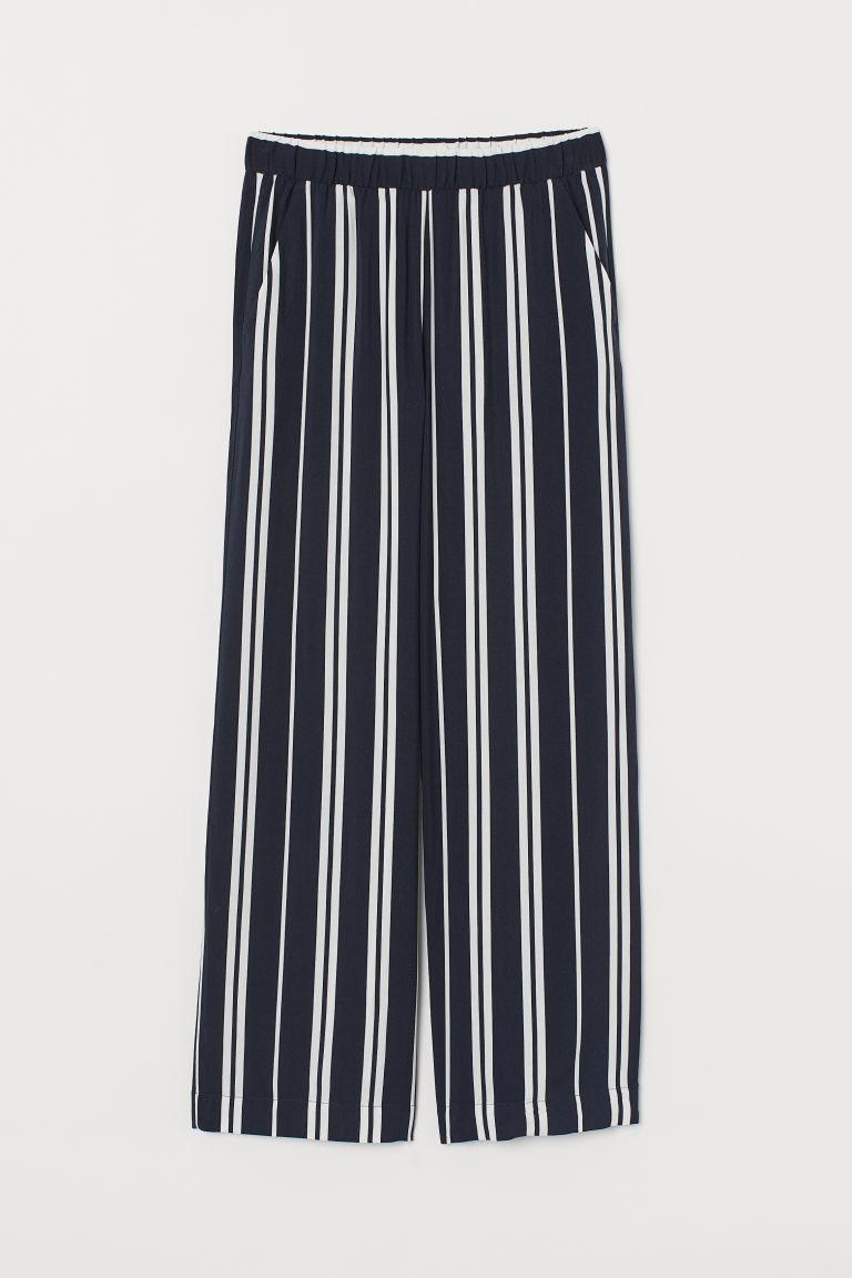 H & M - 鬆緊式寬管褲 - 藍色