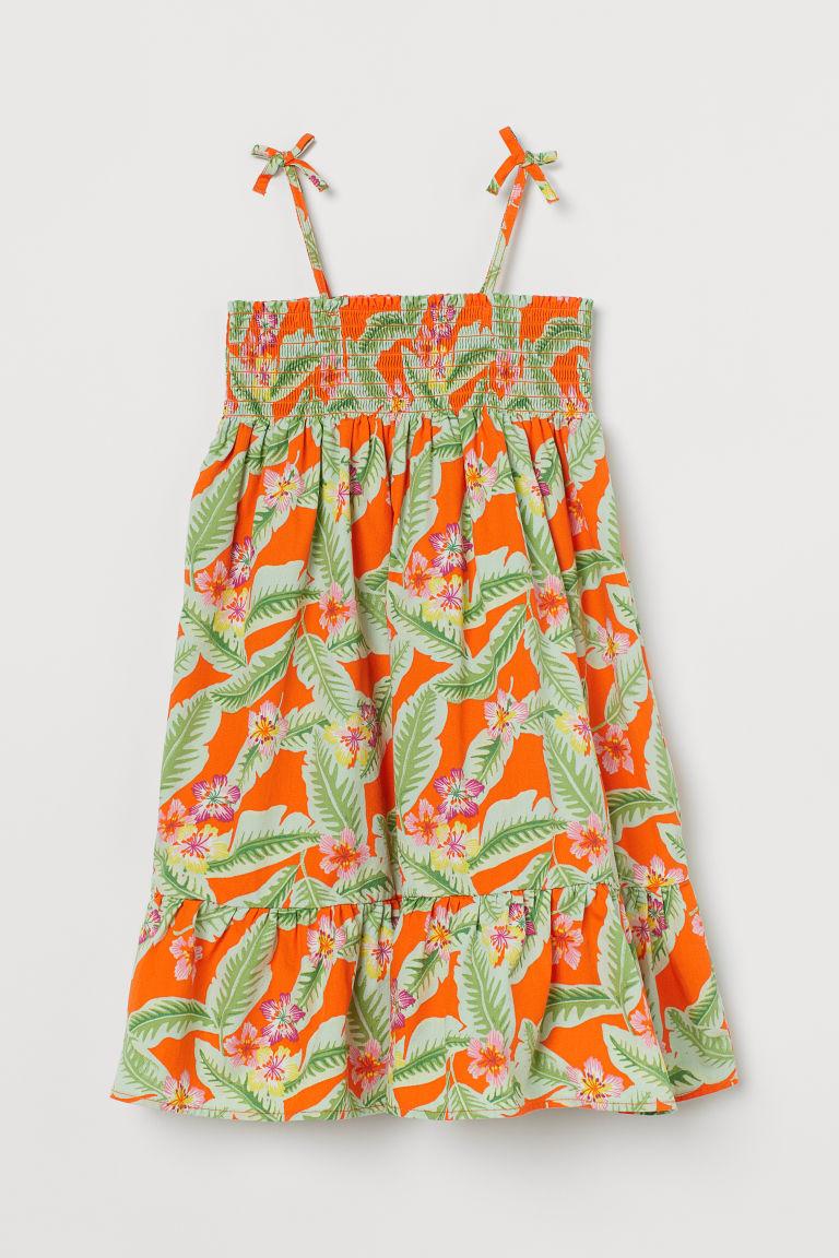 H & M - 縮褶棉質洋裝 - 橙色