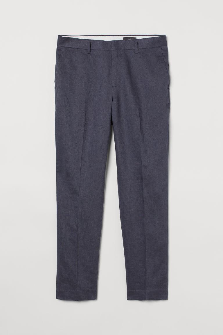 H & M - 貼身亞麻西裝褲 - 藍色