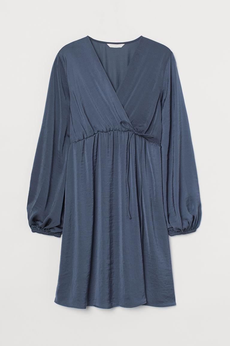 H & M - MAMA 交疊式洋裝 - 藍色