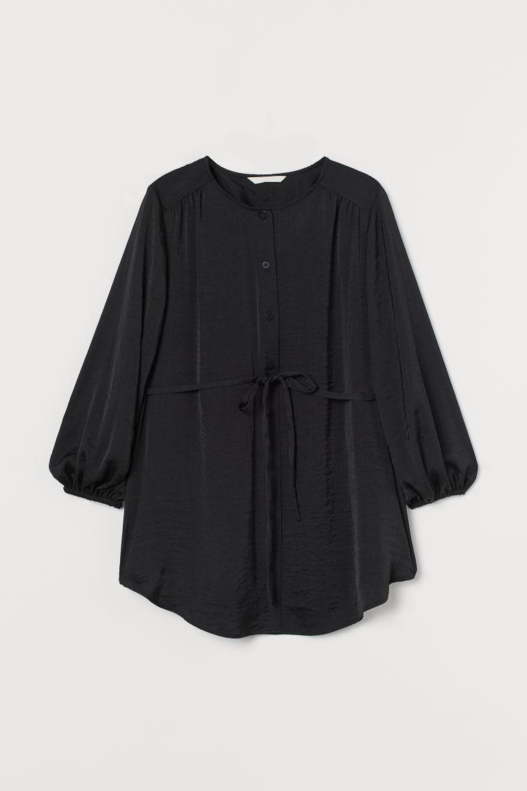 H & M - MAMA 綢緞女衫 - 黑色