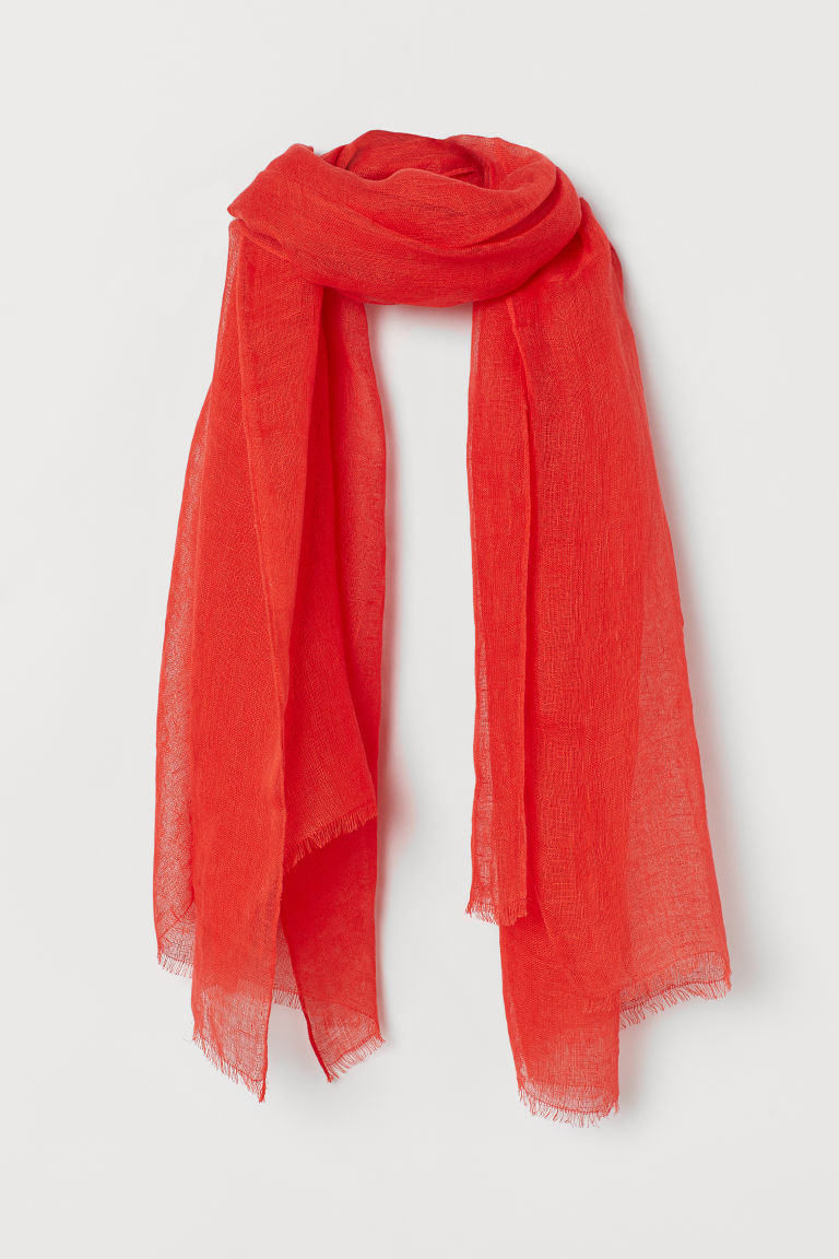 H & M - 亞麻圍巾 - 紅色