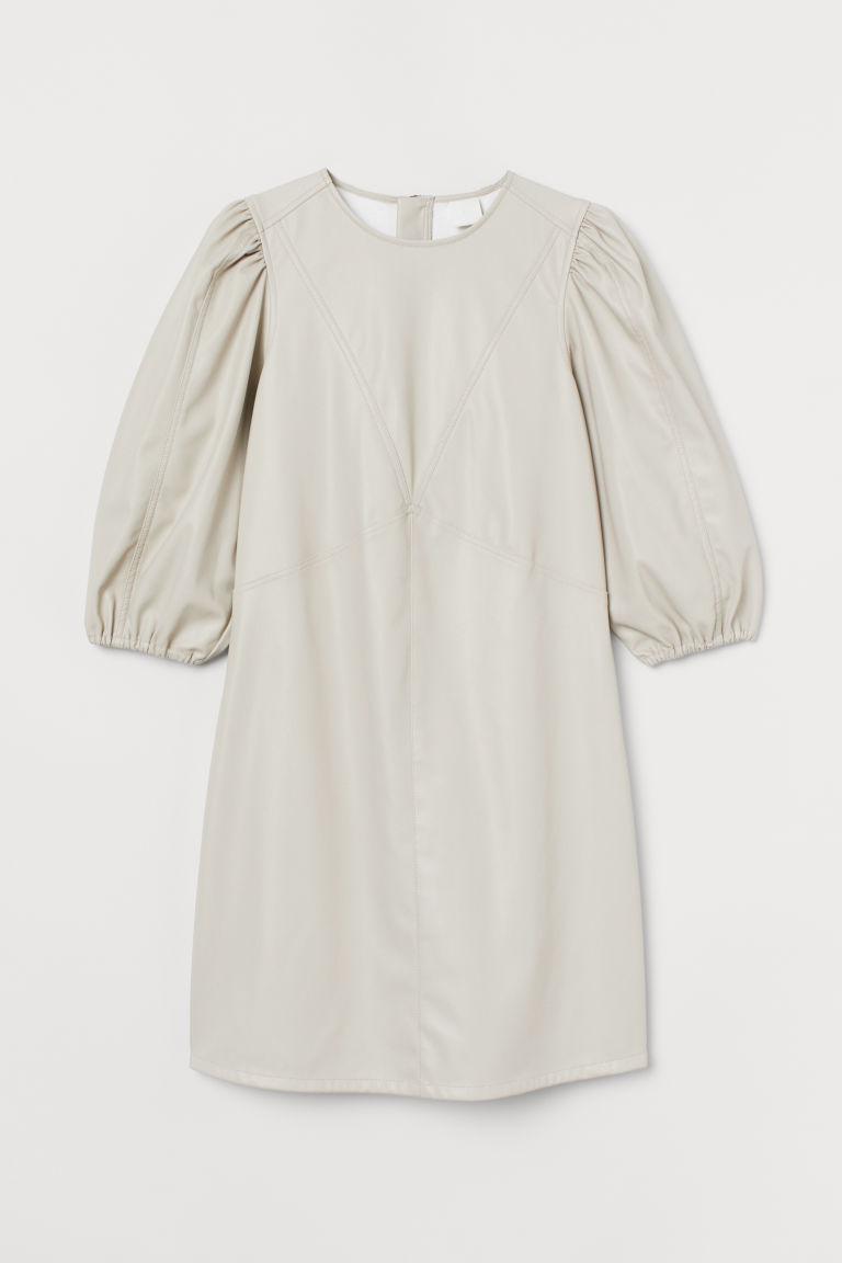 H & M - 仿皮洋裝 - 米黃色