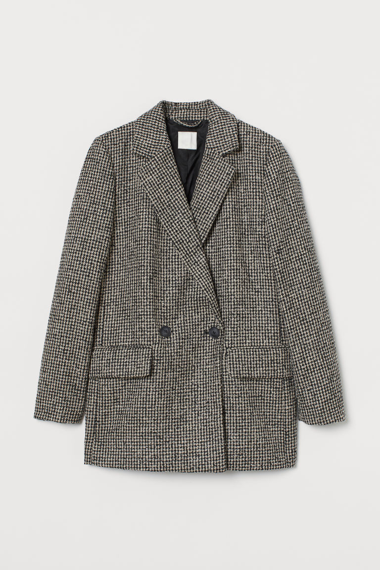 H & M - 毛圈紗雙排扣外套 - 黑色