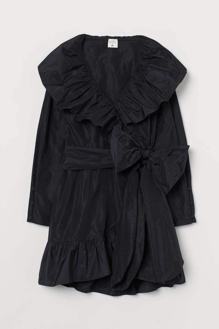 H & M - 蝴蝶結飾交疊式洋裝 - 黑色