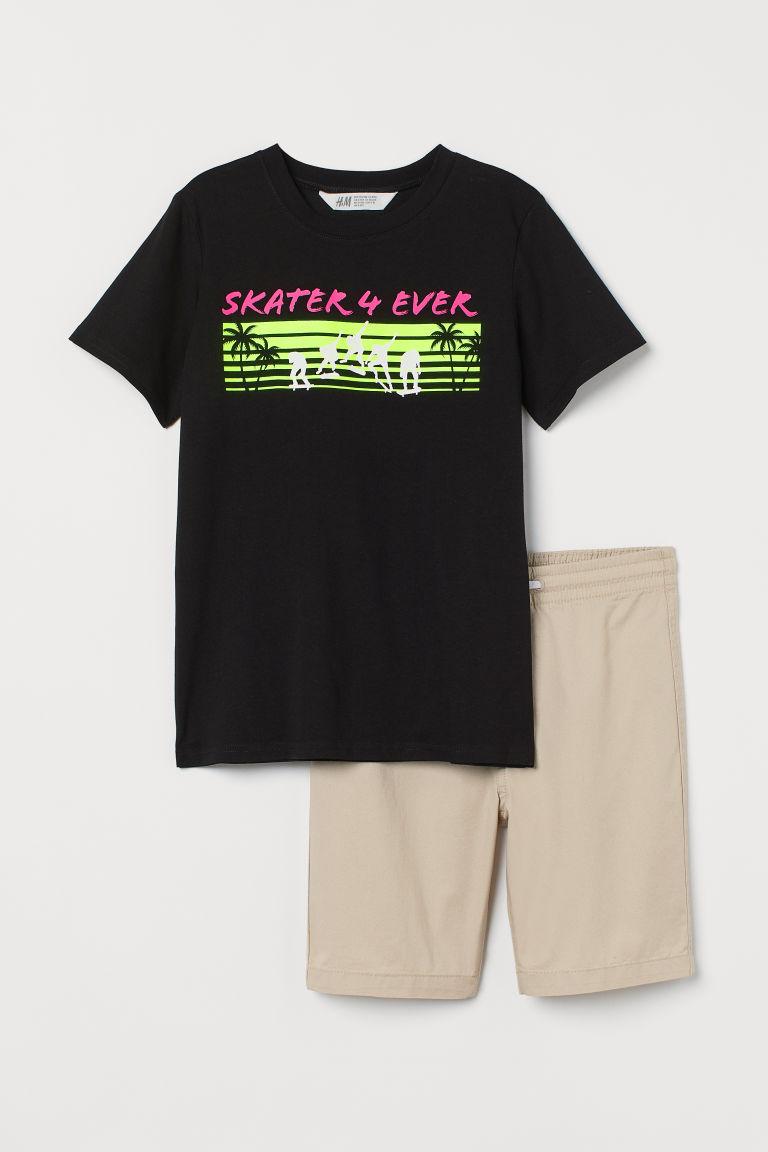 H & M - T恤和短褲 - 米黃色