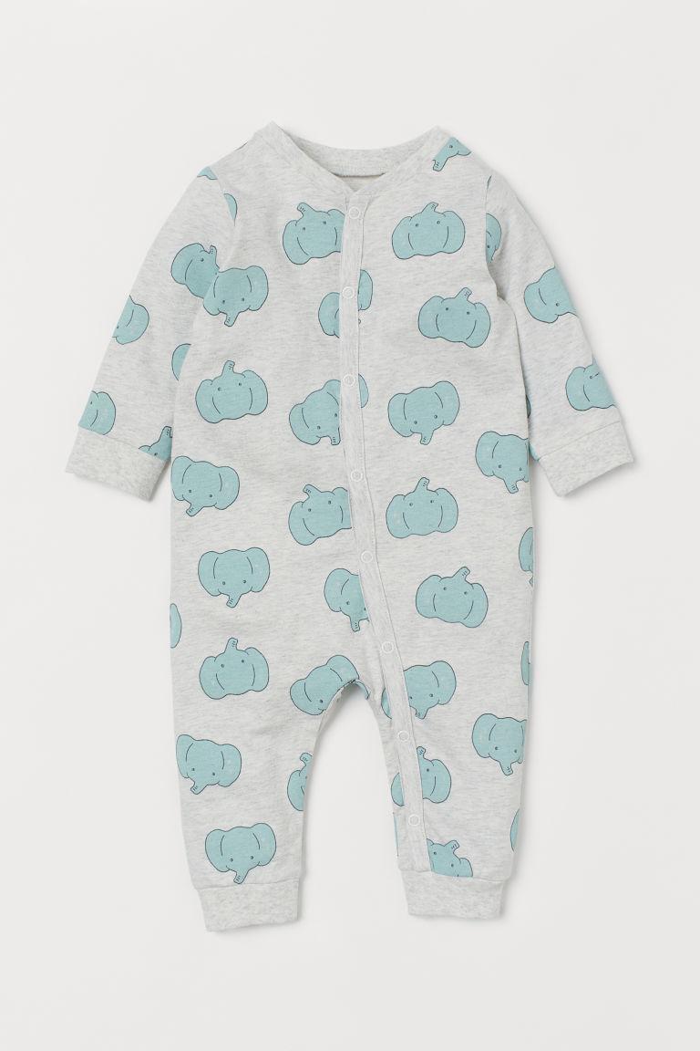 H & M - 棉質平紋睡衣套裝 - 灰色