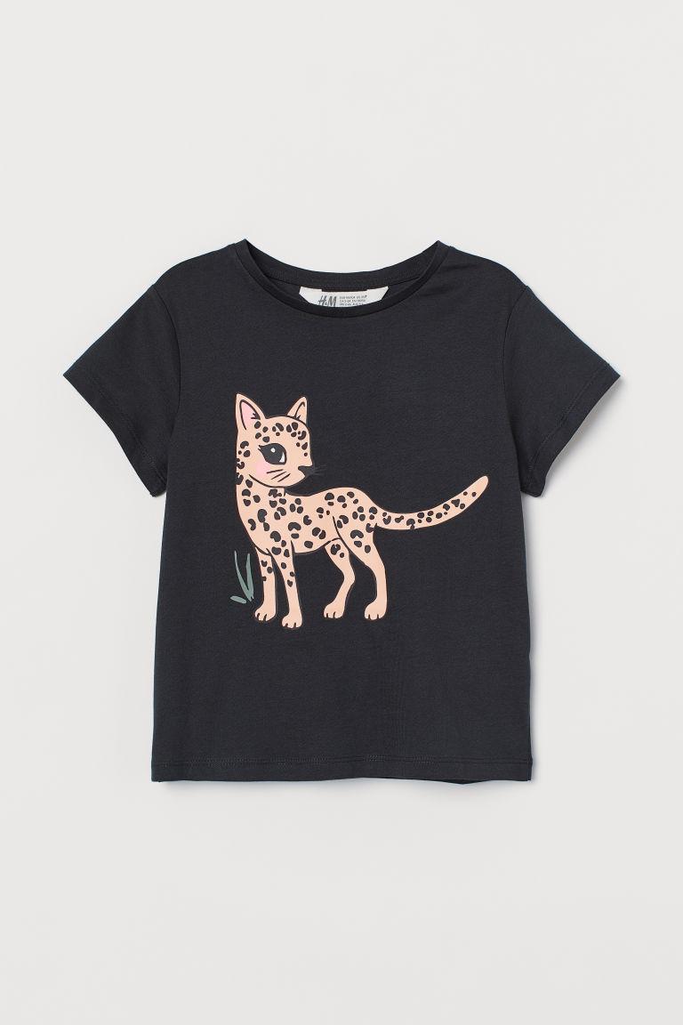 H & M - 圖案T恤 - 黑色