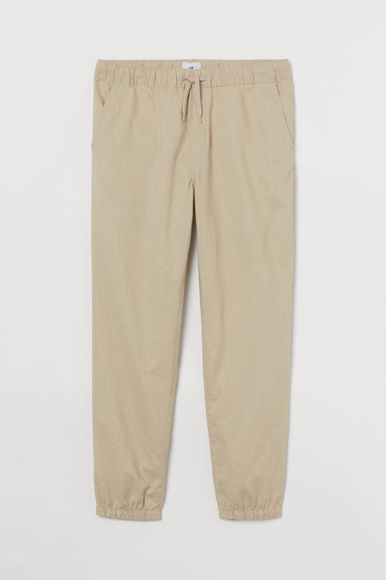 H & M - 合身亞麻混紡慢跑褲 - 米黃色