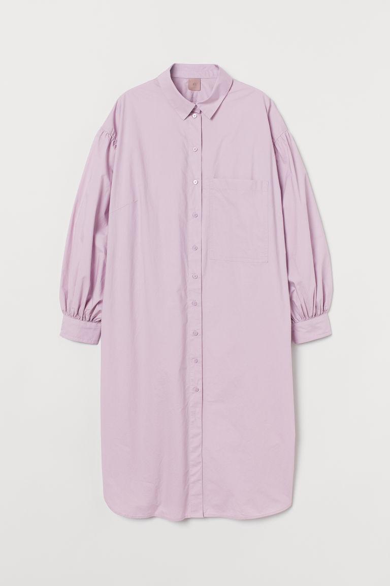 H & M - H & M+ 棉質襯衫式洋裝 - 紫色
