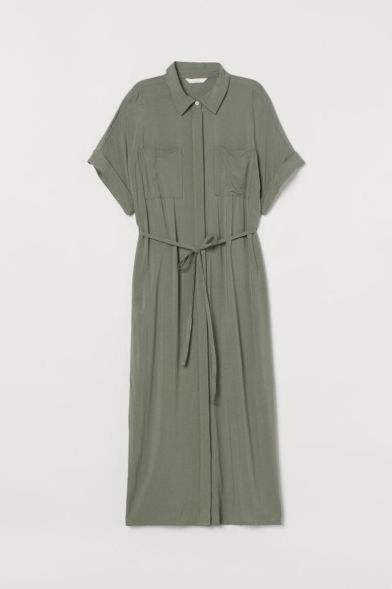 H & M - MAMA 襯衫式洋裝 - 綠色