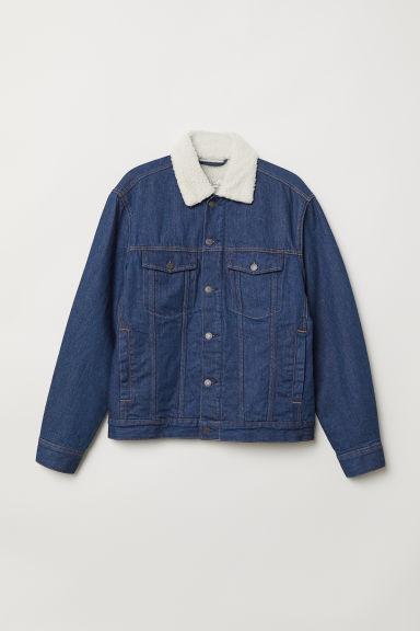 Pile Lined Denim Jacket Dark Blue Men H Amp M Us