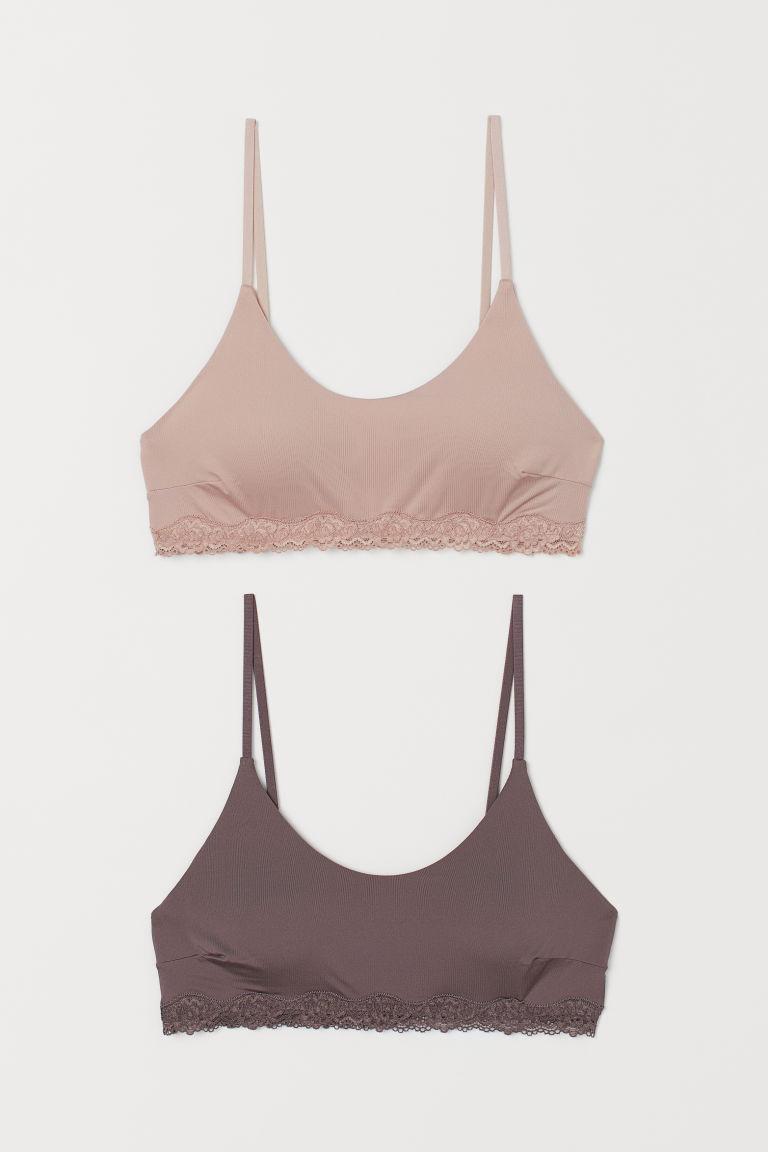 H & M - 2件入極細纖維加墊胸罩 - 紫色