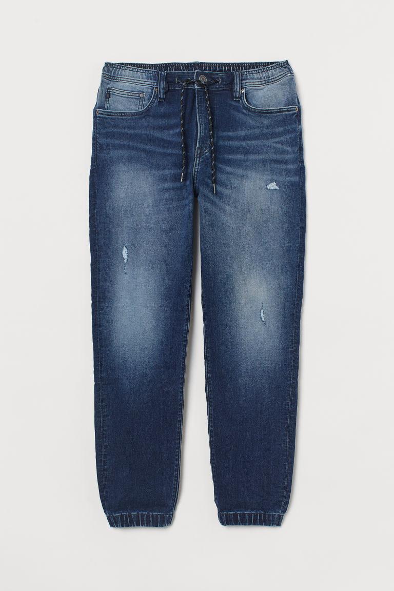H & M - 錐形丹寧慢跑褲 - 藍色