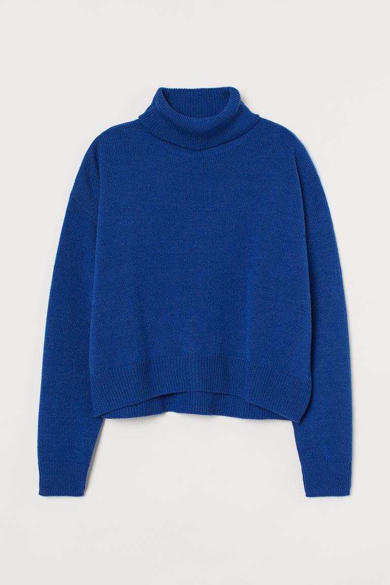 H & M - 圓高領針織套衫 - 藍色