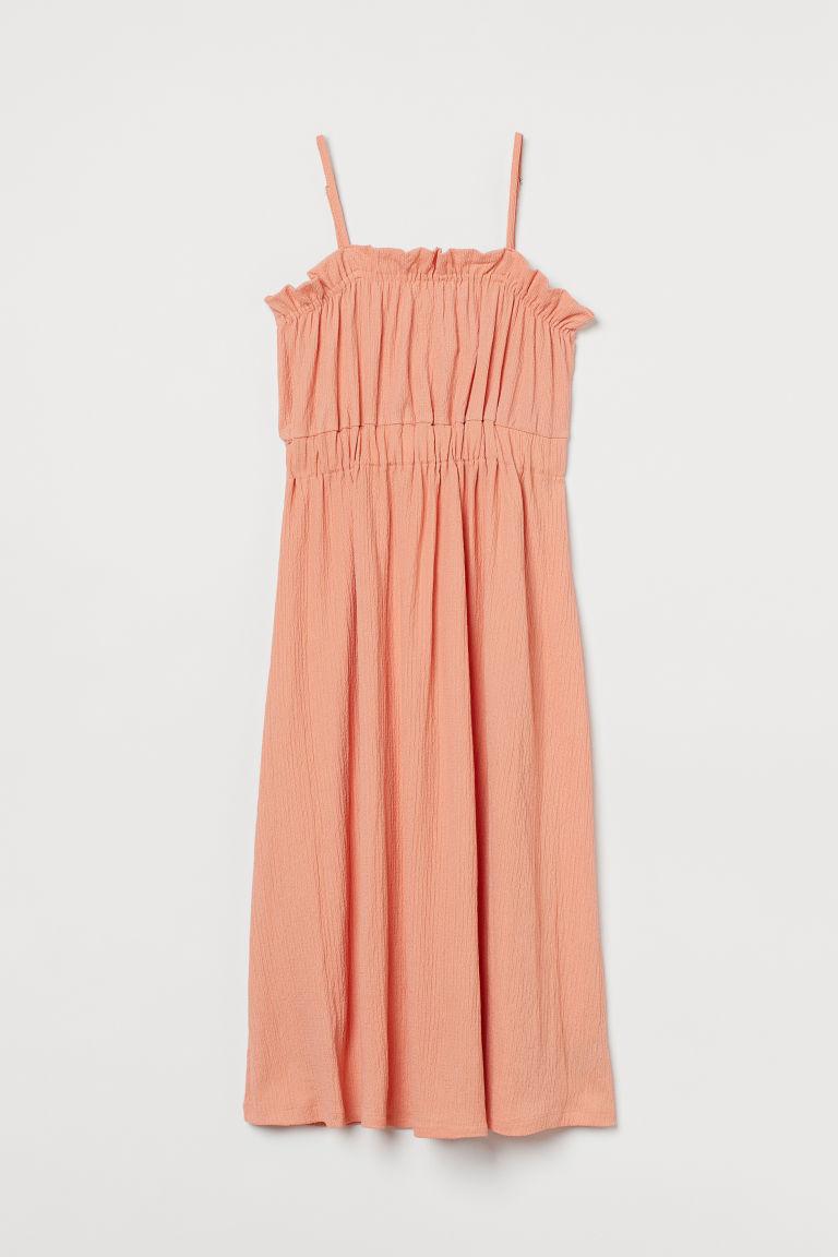 H & M - 中長版平紋洋裝 - 橙色
