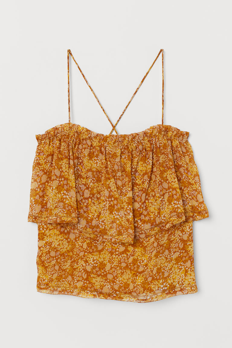 H & M - 雪紡上衣 - 黃色