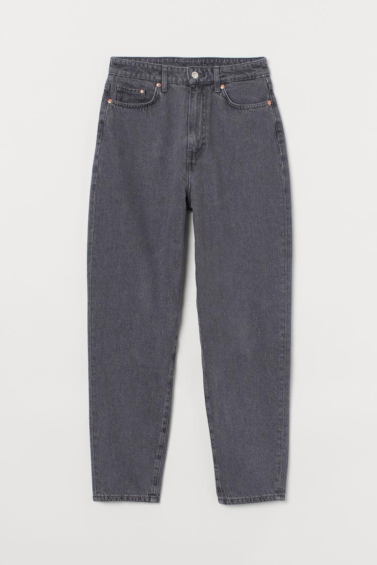 H & M - 媽媽寬鬆超高腰牛仔褲 - 灰色