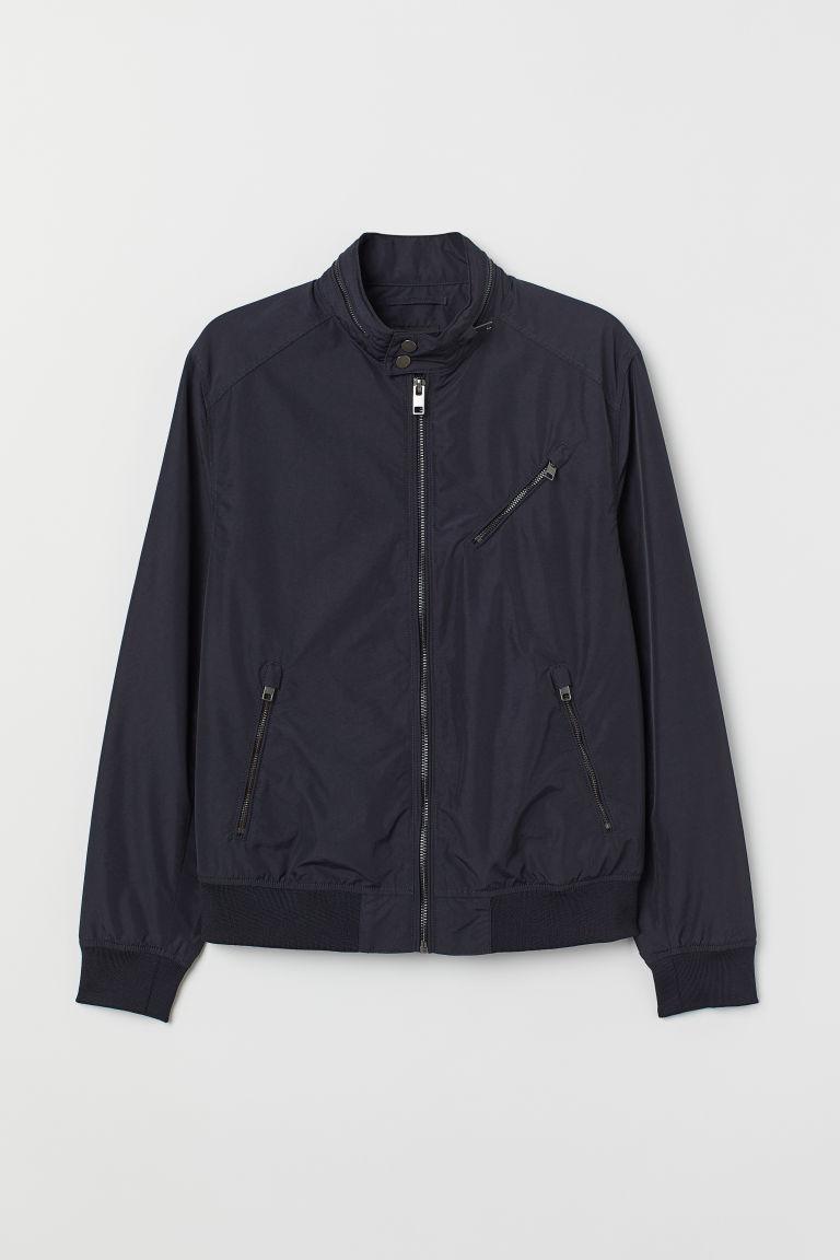 H & M - 尼龍混紡飛行員外套 - 藍色