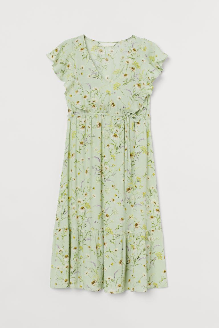 H & M - MAMA 荷葉邊洋裝 - 綠色