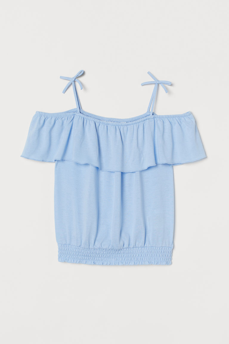 H & M - 露肩上衣 - 藍色