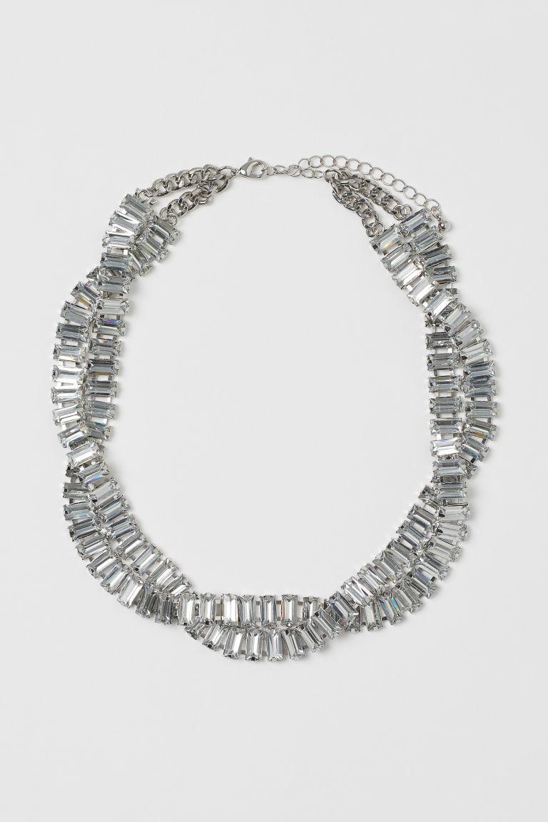 H & M - 水鑽項鍊 - 銀色