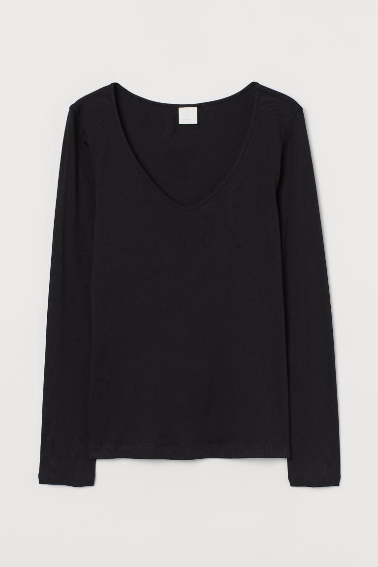 H & M - 羅紋棉質上衣 - 黑色
