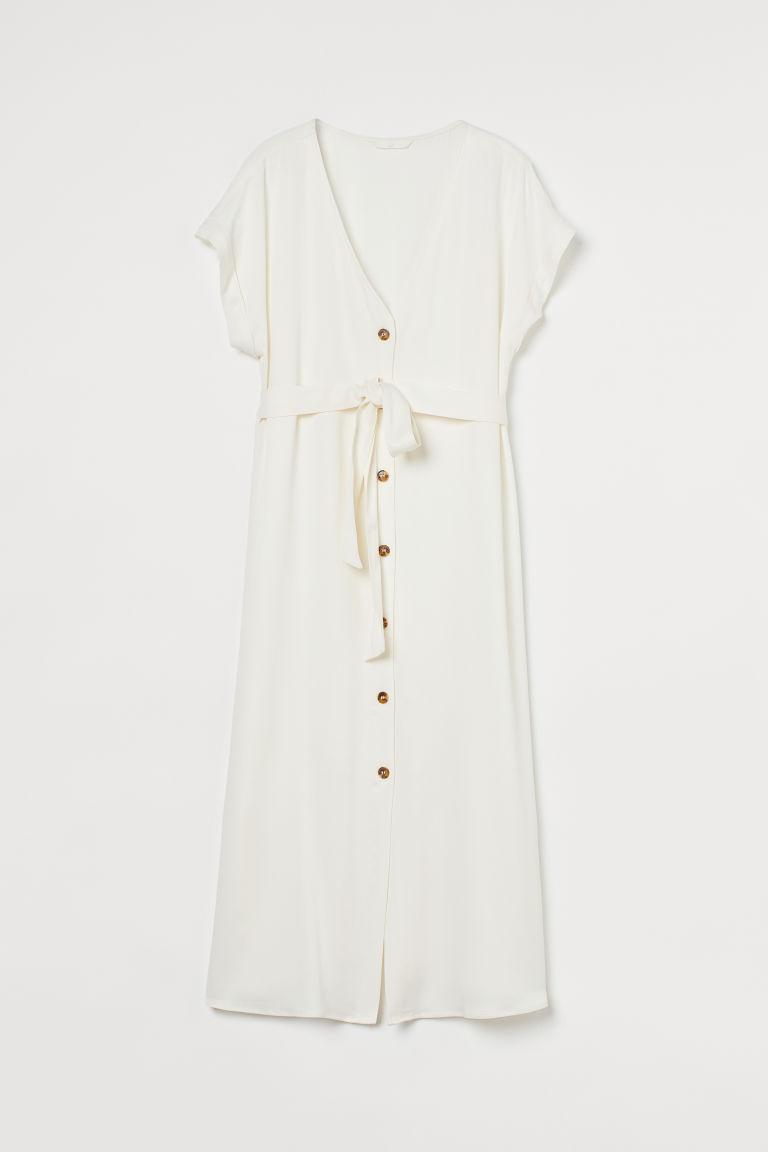 H & M - MAMA V領洋裝 - 白色